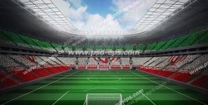 عکس با کیفیت تبلیغاتی ورزشگاه و صندلی ها به رنگ پرچم ایران