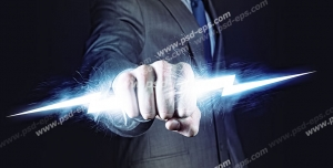 عکس با کیفیت تبلیغاتی رعد و برق در دست مرد