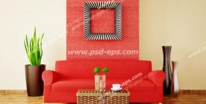 عکس با کیفیت تبلیغاتی مبل دو نفره قرمز و گلدان و میز