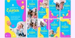 طرح آماده لایه باز بنر استوری اینستاگرام در 9 طرح مختلف با تصاویر با کیفیت با موضوع مهدکودک و پیش دبستانی