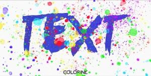 موکاپ متن رنگی با قطرات رنگ (رنگینه)