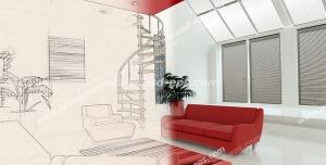 عکس با کیفیت تبلیغاتی نصف تصویر اسکیس طراحی داخلی خانه و نصف دیگر عکس درست شده با 3d max