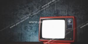 عکس با کیفیت تبلیغاتی تلویزیون قدیمی به رنگ قرمز و مشکی با کاغذ دیواری های سرمه ای