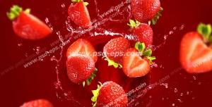 عکس با کیفیت تبلیغاتی توت فرنگی ها در حال افتادن در داخل ظرف آب