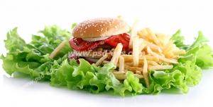 عکس با کیفیت تبلیغاتی همبرگر و سیب زمینی های سرخ شده بر روی برگ های کاهو در بک گراند سفید