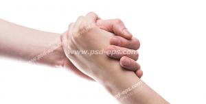 عکس با کیفیت تبلیغاتی دو دست گره خورده در هم در بک گراند سفید