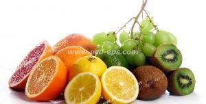 عکس با کیفیت تبلیغاتی میوه های نصف شده در کنار یکدیگر با بک گراند سفید