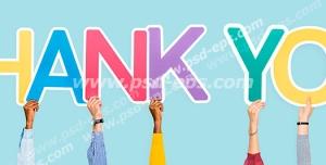 عکس با کیفیت تبلیغاتی حروف های انگلیسی thank you با رنگ های رنگارنگ در دست مردم