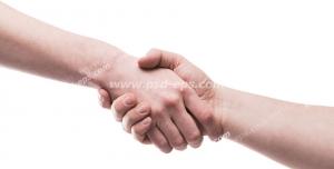 عکس با کیفیت تبلیغاتی دو دست در حال دست دادن در بک گراند سفید