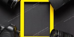 عکس با کیفیت تبلیغاتی چهارچوب زرد و لنز دوربین حرفه ای در هر چهار طرف