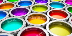 عکس با کیفیت تبلیغاتی سطل های رنگ با رنگ های شاد و زیبا در کنار یکدیگر