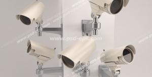 عکس با کیفیت تبلیغاتی دوربین های مدار بسته در جهت های مختلف نصب بر روی ستون