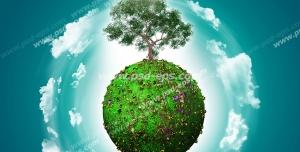عکس با کیفیت تبلیغاتی درخت زیبا بر روی گوی سرسبز در آسمان آبی