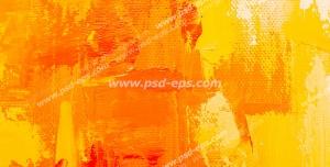 عکس با کیفیت تبلیغاتی رنگ گذاری با کاردک بر روی بوم و ایجاد بافت زیبا با رنگ نارنجی و لیمویی و قرمز و سفید