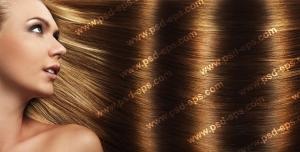 عکس با کیفیت تبلیغاتی نیم رخ صورت زن با موهای قهوه ای طلایی موج دار