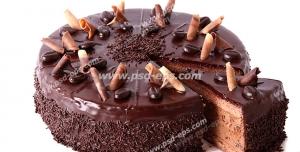 عکس با کیفیت تبلیغاتی کیک ابری شکلاتی با بک گراند سفید