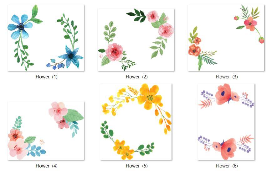 فایل لایه باز تصاویر png و بدونه پس زمینه از گل های آبرنگی