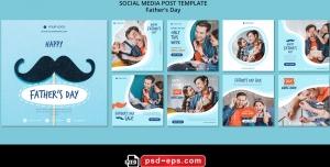 لایه باز بنر پست اینستاگرام در 9 طرح مختلف با تصاویر با کیفیت با موضوع روز پدر