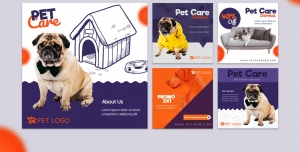 لایه باز بنر پست اینستاگرام در 5 طرح مختلف با تصاویر با کیفیت با موضوع دامپزشکی و پانسیون حیوانات خانگی و کلینیک حیوانات