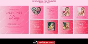 لایه باز بنر پست اینستاگرام در 9 طرح مختلف با تصاویر با کیفیت با موضوع روز عشق روز ولنتاین
