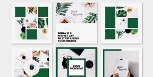 لایه باز بنر پست اینستاگرام در 9 طرح مختلف با تصاویر با کیفیت با موضوع صبحانه