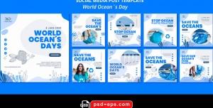 لایه باز بنر پست اینستاگرام در 9 طرح مختلف با تصاویر با کیفیت با موضوع روز جهانی اقیانوس ها
