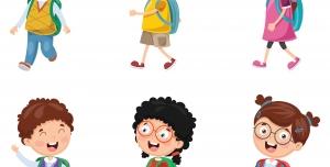 مجموعه شیش عددی وکتور کودکان شاد