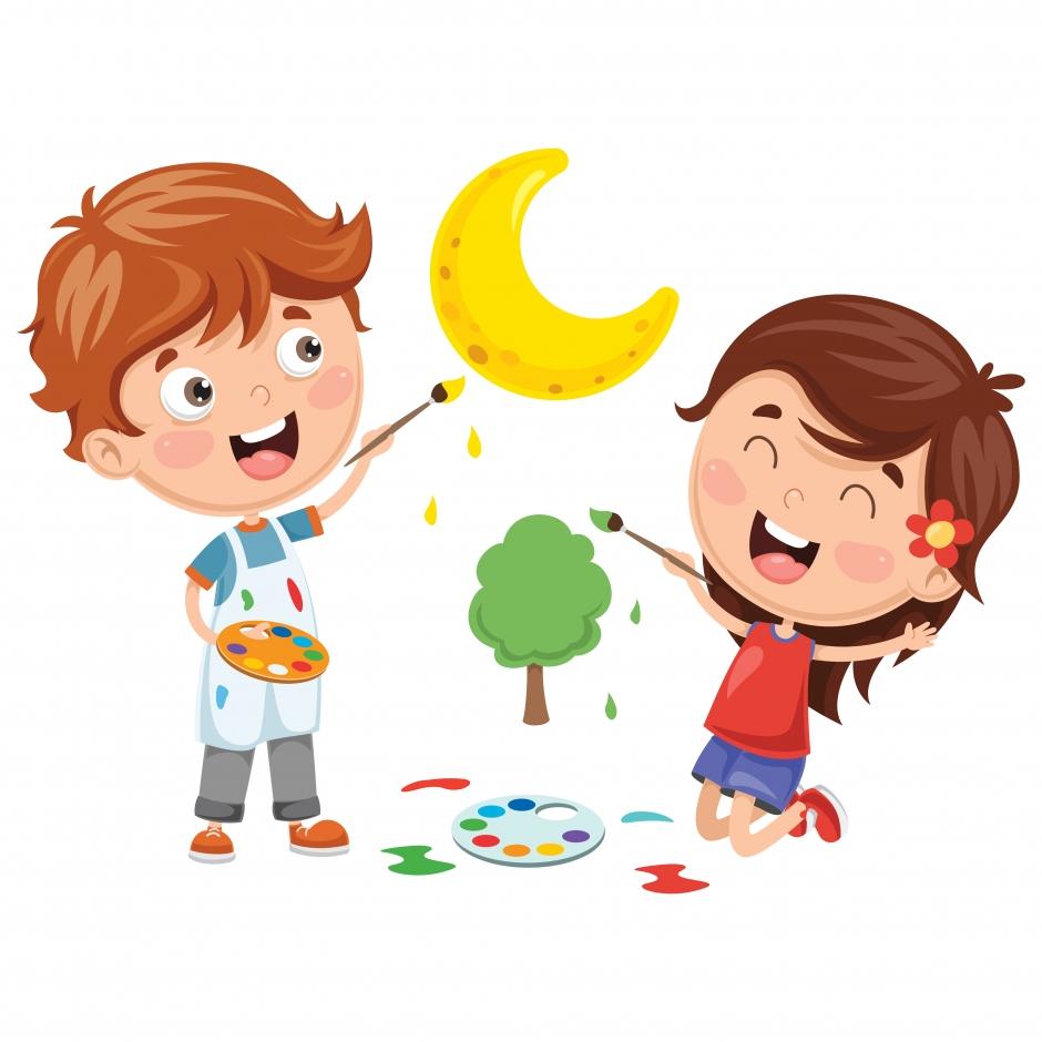 وکتور کودکان در حال نقاشی با فرمت eps