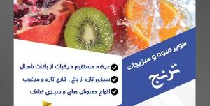 طرح آماده لایه باز پوستر یا تراکت سوپر میوه و سبزیجات و میوه فروشی با موضوع تصویر در حال شستن مرکبات