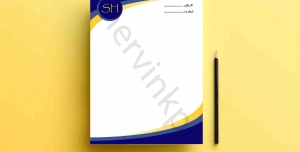 طرح لایه باز سر برگ اداری آبی و زرد