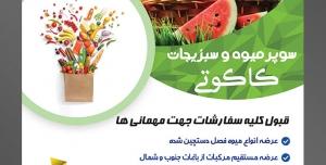 طرح آماده لایه باز پوستر یا تراکت سوپر میوه و سبزیجات و میوه فروشی با موضوع تصویر میوه های تابستانی داخل سبد حصیری در چمنزار