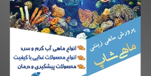 طرح آماده لایه باز پوستر یا تراکت پرورش ماهی های زینتی با محوریت تصویر ماهی های گوناگون در اعماق دریا