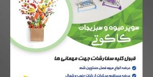طرح آماده لایه باز پوستر یا تراکت سوپر میوه و سبزیجات و میوه فروشی با محتوا تصویر دو سبد چرخ دار کوچک در کنار سبزیجات