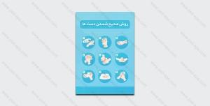 طرح آماده لایه باز پوستر روش صحیح شستن دست ها + فونت رایگان