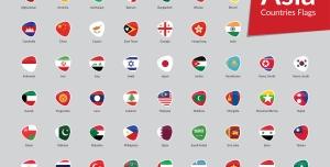 وکتور آیکون پرچم کشورهای آسیا