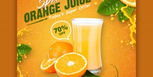 بنر تبلیغاتی آب پرتقال تازه
